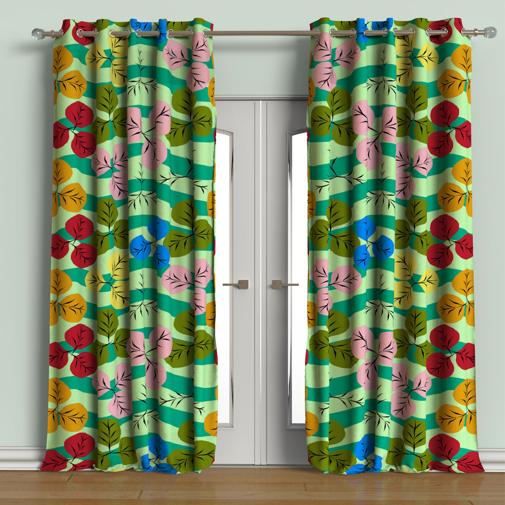 Dlob Blackout Curtain Set of 2 Contemporary Printed 9 feet